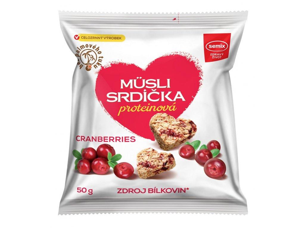 protein srdíčka brusinka